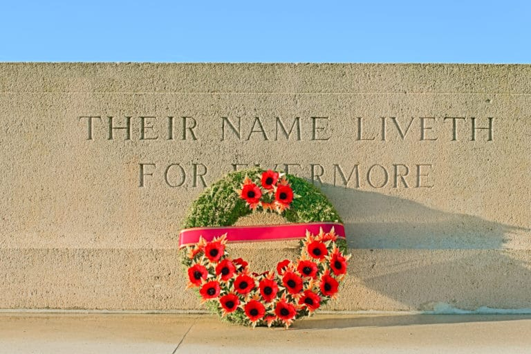 World War I monument with wreath of poppies